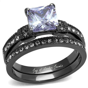A Perfect 1.5CT Princess Cut Purple Amethyst & Russian Lab Diamond Bridal Set