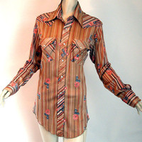 Vintage 70s Western Shirt Pearl Snap Cowboy Cowgirl Silky Stripe Floral S Unisex