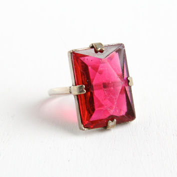 Vintage Art Deco Sterling Large Pink Glass Ring- Antique Size 7 1930s Emerald Cut Open Back Faceted Jewelry
