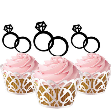 6 pcs in one set wedding rings CupCake toppers for party decor, bridal shower cake toppers acrylic, gift for bride