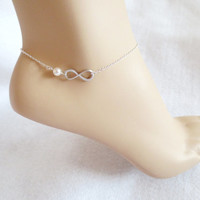 Infinity, Pearl, Anklet, Infinity, Anklet, Ankle, Jewelry, Friendship, Best, Friend, Birthday, Gift, Silver, Anklet, Infinity, Pendant