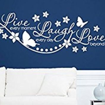 Wall Decal Vinyl Sticker Decals Art Decor Design Sign Quote Live Laugh Love Butterfly Flowers Pattern Home Dorm Bedroom (r342)