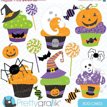 40% OFF Halloween cupcake clipart commercial use, vector graphics, digital clip art, digital images - CL564