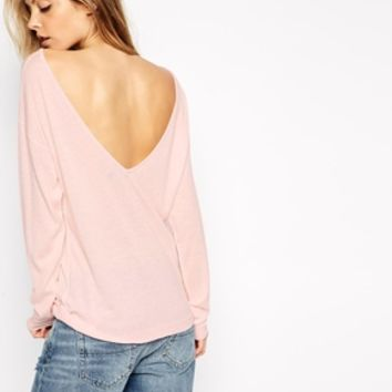 ASOS Jumper In Cashmere Mix With Off Shoulder Detail And V Back