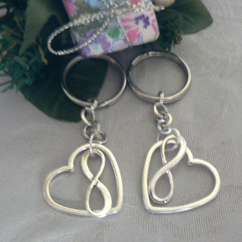 Gift Set 2 Infinite Love Key Chain Infinity Symbol and Open Heart  Charm KeyChain Eternal Love Friendship Couples Polyamory Gift