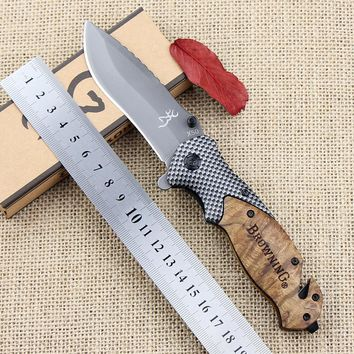 Browning X50 Outdoors Folding Knife Steel Blade Wood Handle Tactical Pocket Survival Knives Huntting Fishing