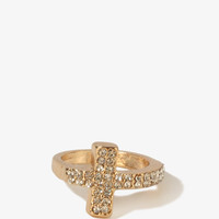 Rhinestoned Curved Cross Ring