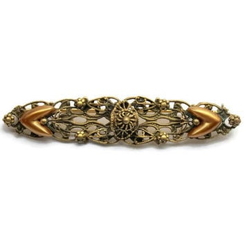1930's Ornate Brass Filigree Bar Pin Brooch