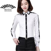 2016 Spring New Fashion Long Sleeve Polos Turn down Collar Tops Women's Contrast Color Patchwork Polo Shirts Office Work Wear-in Polo Shirts from Women's Clothing & Accessories on Aliexpress.com | Alibaba Group