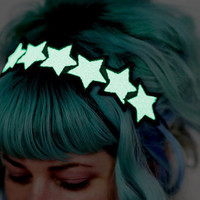 Glow in the dark Stars Headband, White, Green Glow, UV Reactive