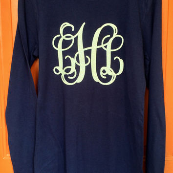 Monogram Long Sleeve T Shirt Monogrammed Tee Shirt, Huge Monogram, Preppy, Monogrammed gifts, Bridesmaids,Women, Girls, Teens