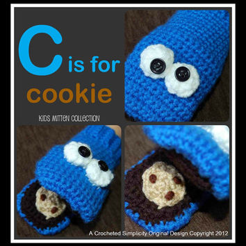 "Crochet Pattern: C is for Cookie Blue Monster Mittens 9m - 10yrs ""Permission To Sell Finished Items"""