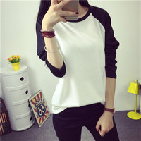 2016 Korean new Harajuku autumn cotton loose t shirt women tops big size spell color long sleeve T shirts female college student