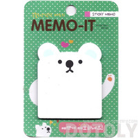 White Polar Bear Shaped Memo Sticky Post-it Note Pad | Cute Animal Themed Stationery Scrapbook Supplies