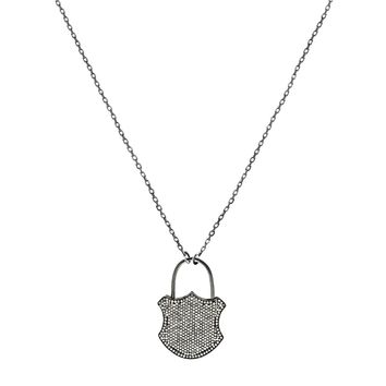 6.46ct Pavé Diamonds in 925 Sterling Silver Medieval Padlock Pendant Necklace