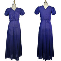 1930s Navy Blue Cotton Swiss Dot Maxi Dress with Puff Sleeves