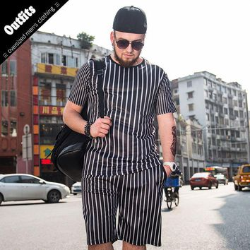 Loose Men Clothes Set 2Pcs O-Neck Tops+Shorts Plus Size 6xl Outfits Male black white printing Clothing Fashion Sunsuits