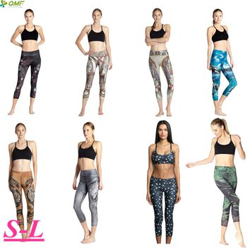Grey Dragon Running Workout Capris Leggings Animal Printed Power Flex Yoga Pants Dry Fit Slimming Fitness Cropped Tights Women's
