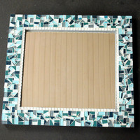 Mosaic Mirror, Teal and Gray