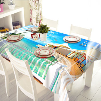 New 3D Tablecloths Seaside Cottage Printing Waterproof/oil-proof Thicken Multi-size Rectangular/Circular Tables Home-T012