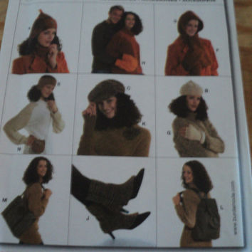 Sewing Pattern Burda 8127 Hats Mittens Gloves Boot Covers Purse Backpack