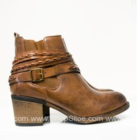 Rope Brown Distressed Booties