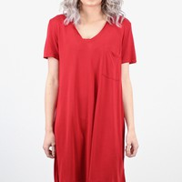 Basic Modal V-neck T-shirt Dress {Red} EXTENDED SIZES