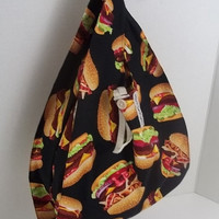 Foldable Lunch Bag - Hamburger Print - Premium Print with Strap and Button Closure // FOLDBAG | reusable shopping bag, reusable grocery bag