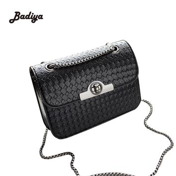 Fashion Messenger Bag Women Shoulder Bag With Lock Knitting Pattern Chains Strap Ladies Flap Handbag Weave Hasp Women Bags