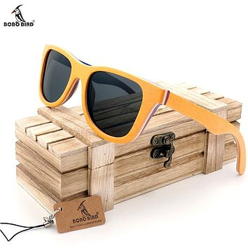 BOBO BIRD G28-2 Men's Sunglasses Cool Women Glasses Colorful Wooden Frame Polarized Lens Oculos de sol masculino With Wooden Box
