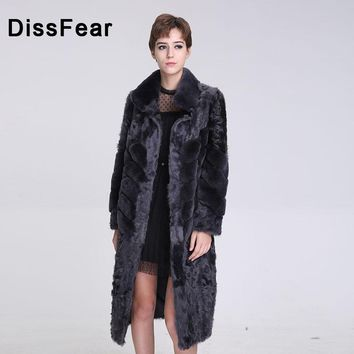 Women's Rex Rabbit Fur Vest Long Fashion New Women Natural Winter Genuine Fur Leather Jacket Overcoat Lady O-Neck Vest Coat