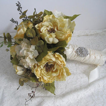 Gorgeous Large Mixed Bridal Wedding Bouquet Hydrangea Roses Peonies French Knotted with Ivory Satin Ribbon Bride Bridesmaid Wedding Bouquet