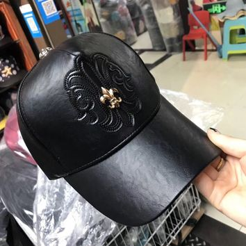 """Chrome Hearts"" PU Leather Women Hat Fashion Personality Punk Cross Flat Cap Baseball Cap"