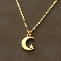 Crescent moon necklace, gold tiny moon and star necklace, moon pendant, Modern, Cute, Everyday Necklace, Gift for sisters, SALE