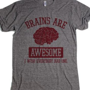 Brains Are Awesome-Unisex Athletic Grey T-Shirt