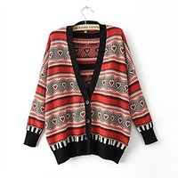 Woman's Stripes and Hearts Pattern Cardigan 080872