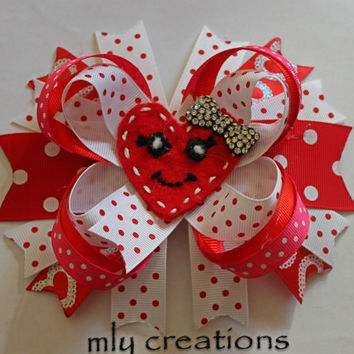 Valentine Hair Bow - Boutique Stacked, Pink Hair Bow, Red Hair Bow, Heart Hair Bow, Chevron Bow, Valentines Headband, baby hair bow, feltie