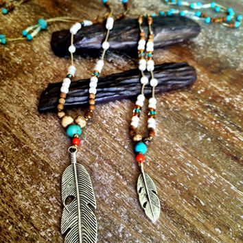 Mother daughter, next generation, matching boho feather pendants