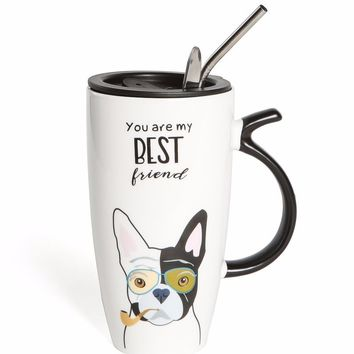 Frenchie Best Friend Mug Set With Lid, Metal Straw and Spoon