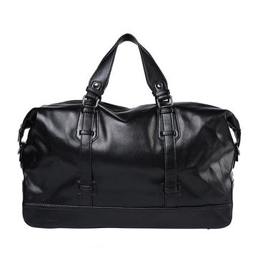 Sports gym bag Large Capacity Waterproof Sports Gym Bag For Women Men Black PU Leather  Tote Duffle Travel Tote KO_5_1