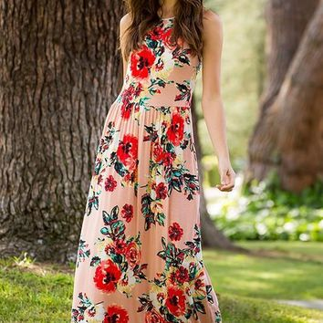 Garden Party Maxi Dress (Blush Floral)