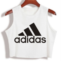"""""""Adidas"""" Fashion Sexy Casual Classic  Letter Print Round Neck Sleeveless Vest T-shirt Crop Top"""