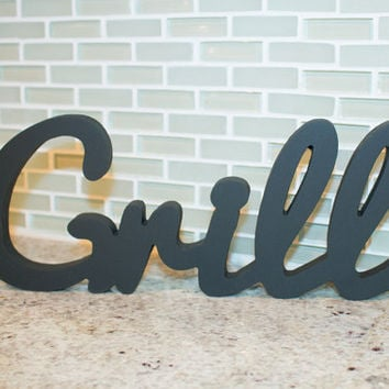 Wooden Kitchen Grill sign carved  kitchen accessories kitchen art