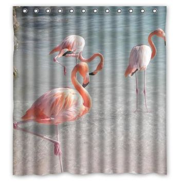 Beautiful Pink Flamingo Customized Design Bath Waterproof Shower Curtain Bathroom Products Curtains 48x72, 60x72, 66x 72 inches