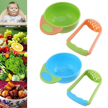 2pcs set Newborn Baby Feeding Bowl Fresh Fruit Food Homemade Grinding Bowl Rod for Kids Safe Infant Lunch Bowl Baby Tableware