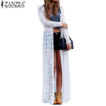 New Autumn Blusas 2016 Fashion Women Lace Crochet Long Sleeve Beach Open Kimono Cardigan Long Blouses Tops Plus Size