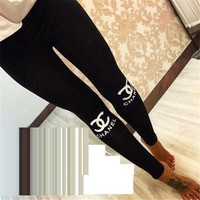 CHANEL Winter Alphabet Print Sports Women's Fashion Leggings I