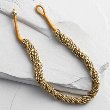Gold Multi Strand Beaded Necklace