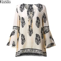 Womens Boho Lace-Up V-Neck Shirt Floral Print Flare Sleeve Casual Loose Beach Tops Blouse