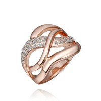 18K Rose Gold Plated Swarovski Elements Crystal Crossed Lines Ring, Size 8